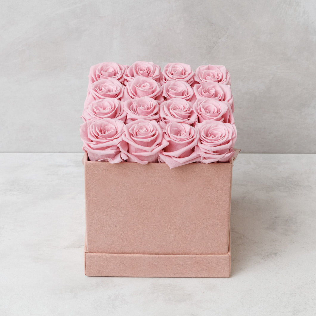 Sixteen Pink Roses in Pink Suede Box
