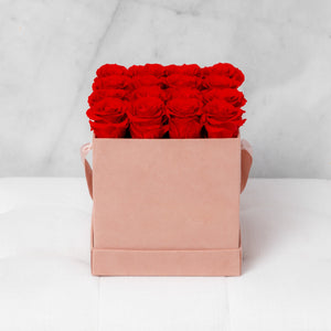 Sixteen Red Roses in Pink Suede Box