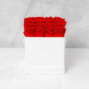 Sixteen Red Roses in White Suede Box
