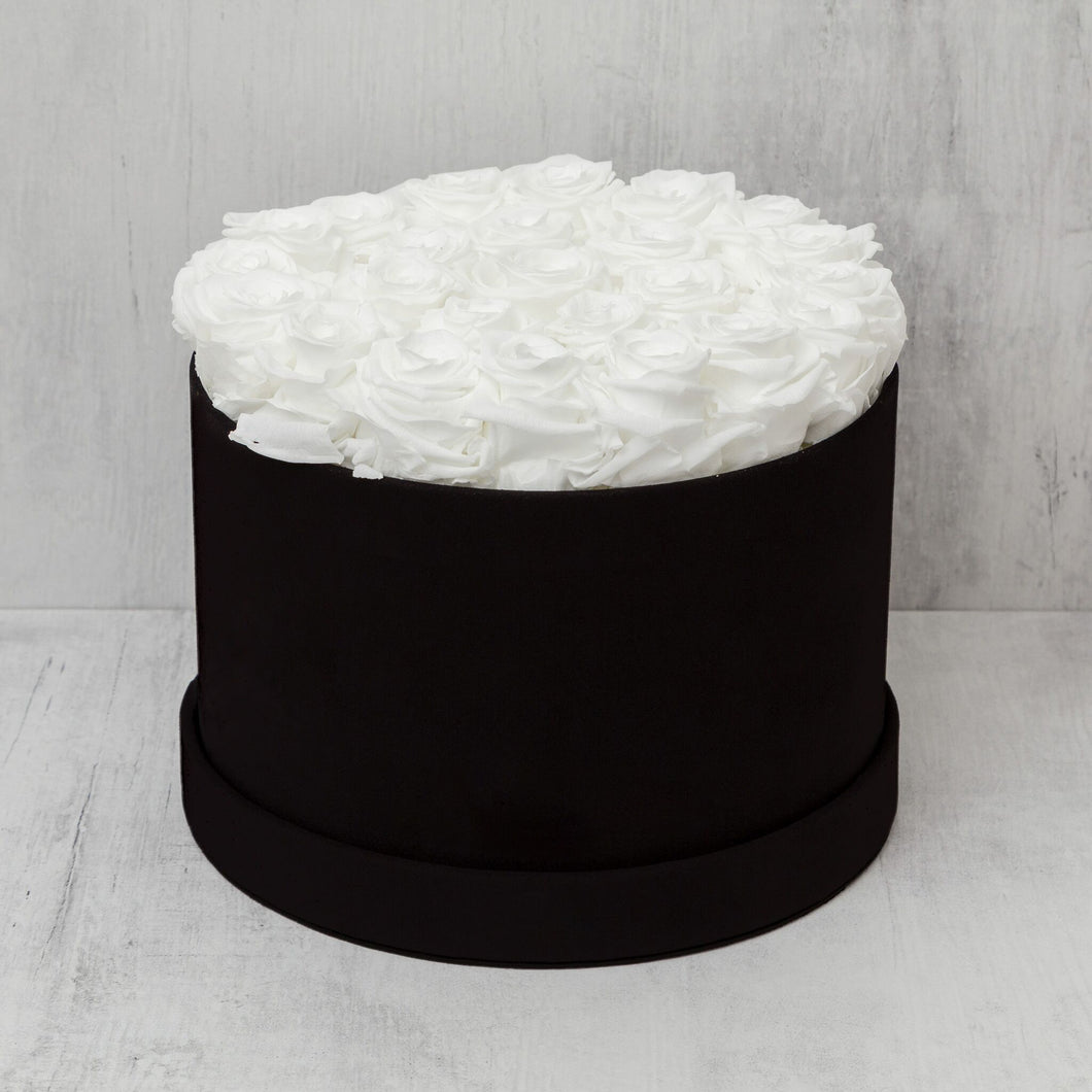Medium Round White Roses in Black Suede Box