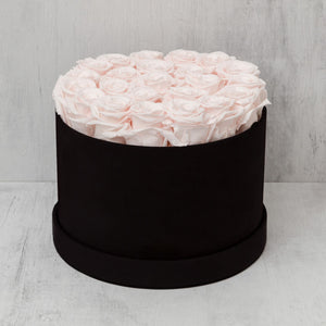 Medium Round Light Pink Roses in Black Suede Box