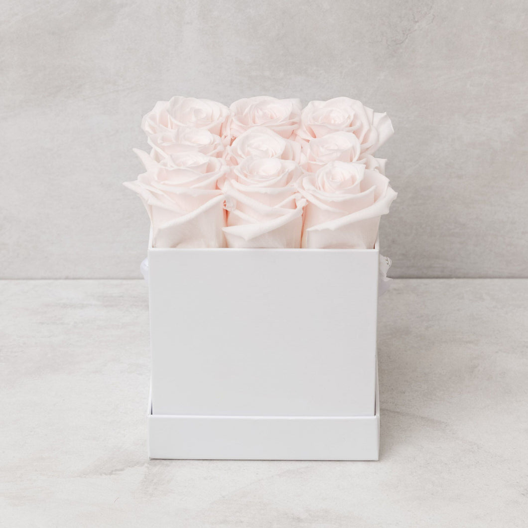 Nine Light Pink Roses in White Box