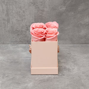 Four Pink Roses in Pink Box
