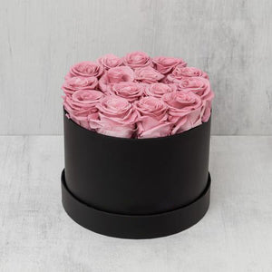 Small Round Pink Roses in Black Suede Box