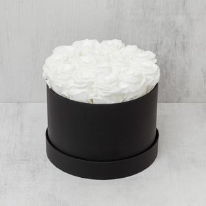 Small Round White Roses in Black Suede Box