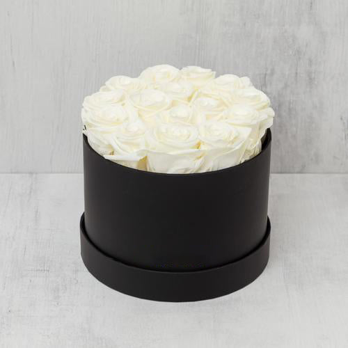 Small Round Champagne Roses in Black Suede Box