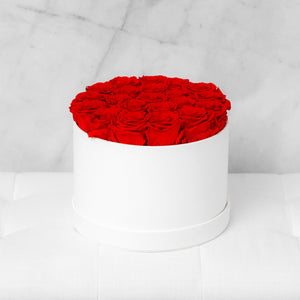 Medium Round Red Roses in Ivory Suede Box