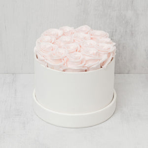 Small Round Light Pink Roses in Ivory Suede Box