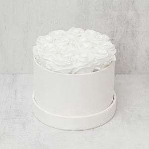 Small Round White Roses in Ivory Suede Box