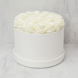 Medium Round Champagne Roses in Ivory Suede Box