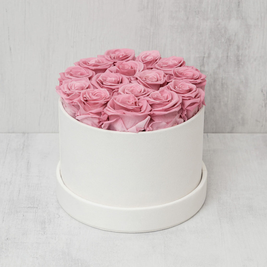 Small Round Pink Roses in Ivory Suede Box