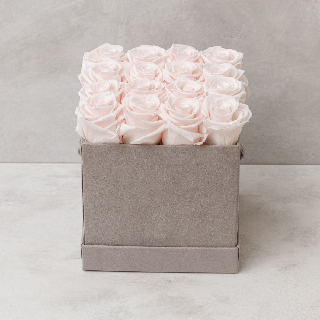 Sixteen Light Pink Roses in Light Gray Suede Box