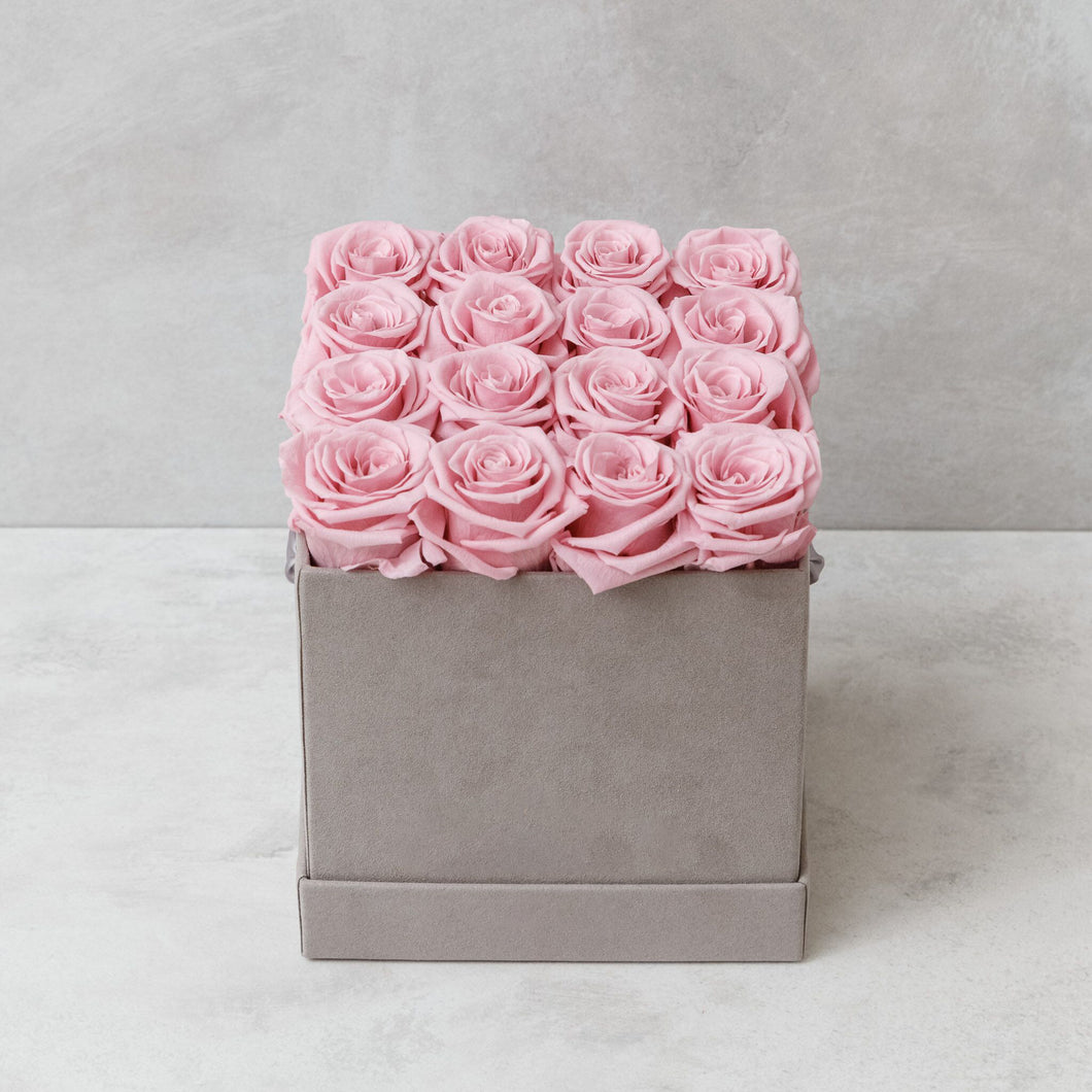 Sixteen Pink Roses in Light Gray Suede Box
