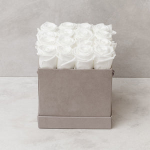 Sixteen White Roses in Light Gray Suede Box