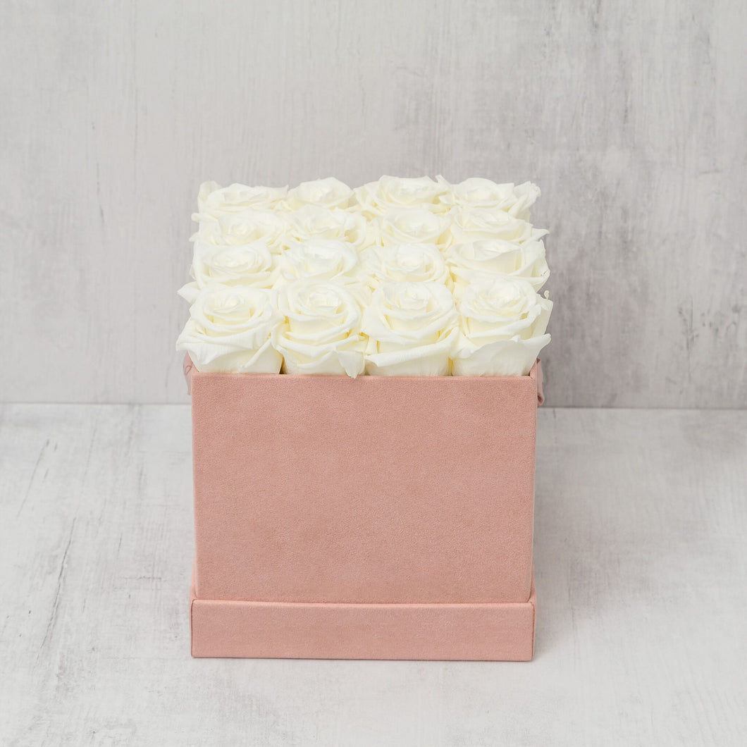 Sixteen Champagne Roses in Pink Suede Box