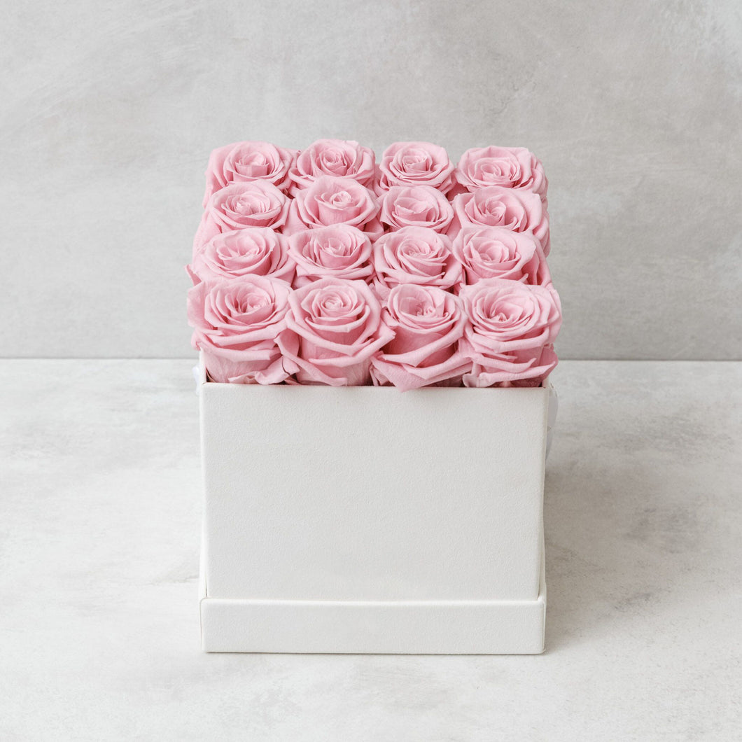 Sixteen Pink Roses in White Suede Box
