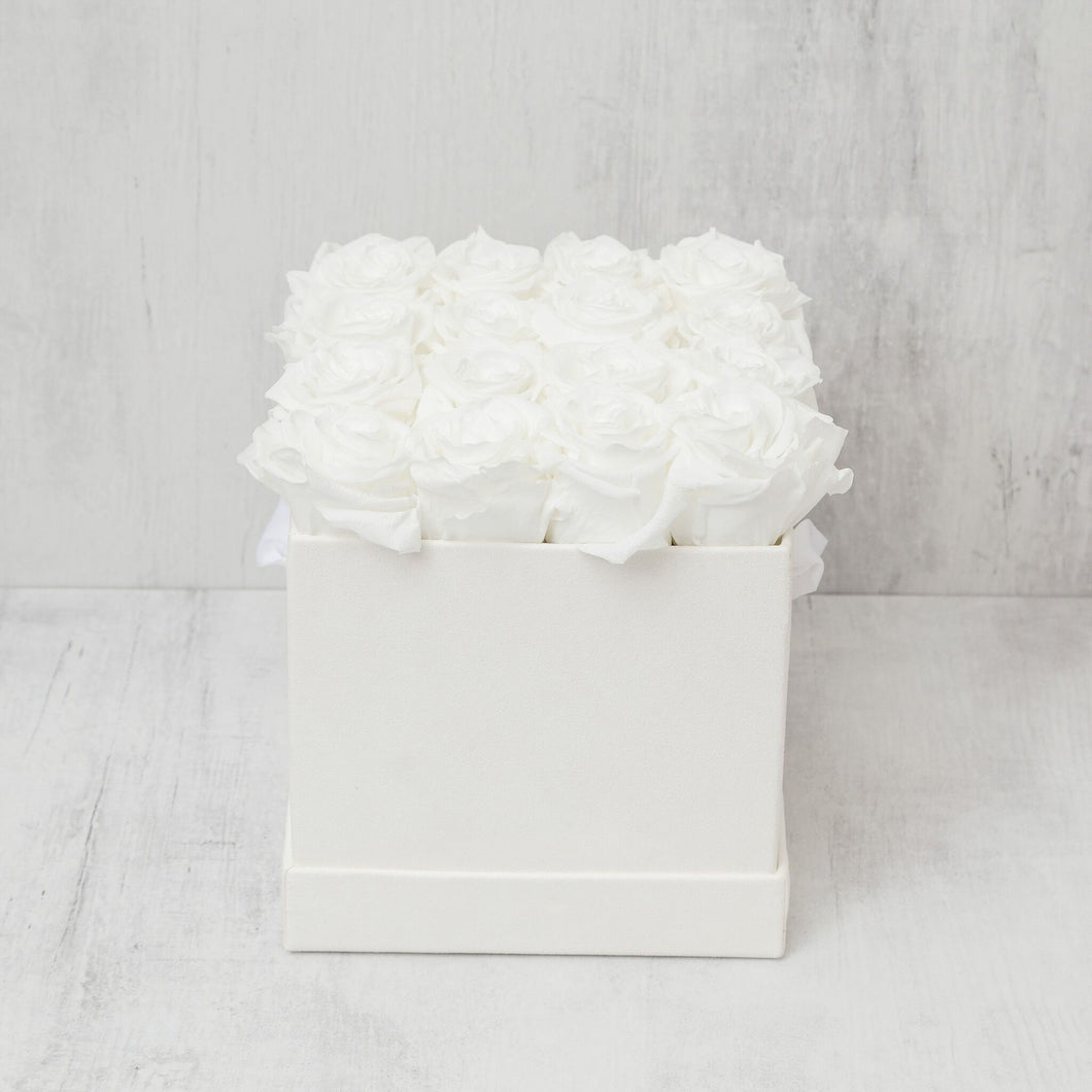 Sixteen White Roses in White Suede Box