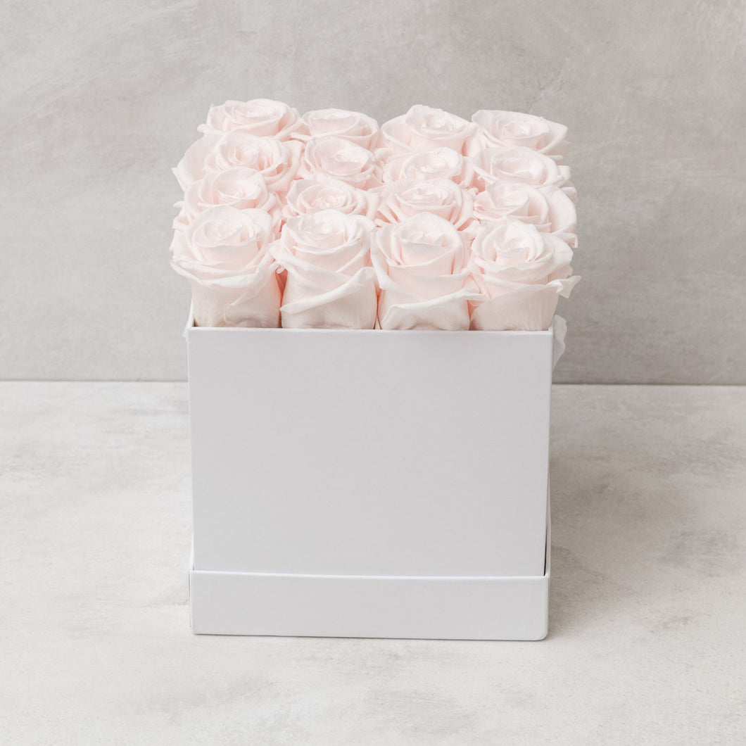 Sixteen Light Pink Roses in White Box