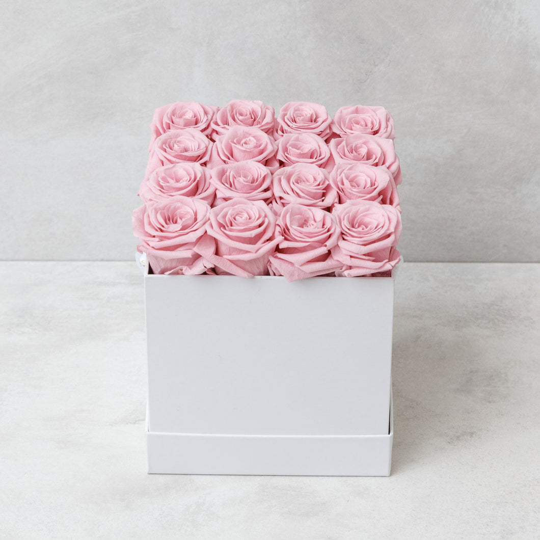 Sixteen Pink Roses in White Box