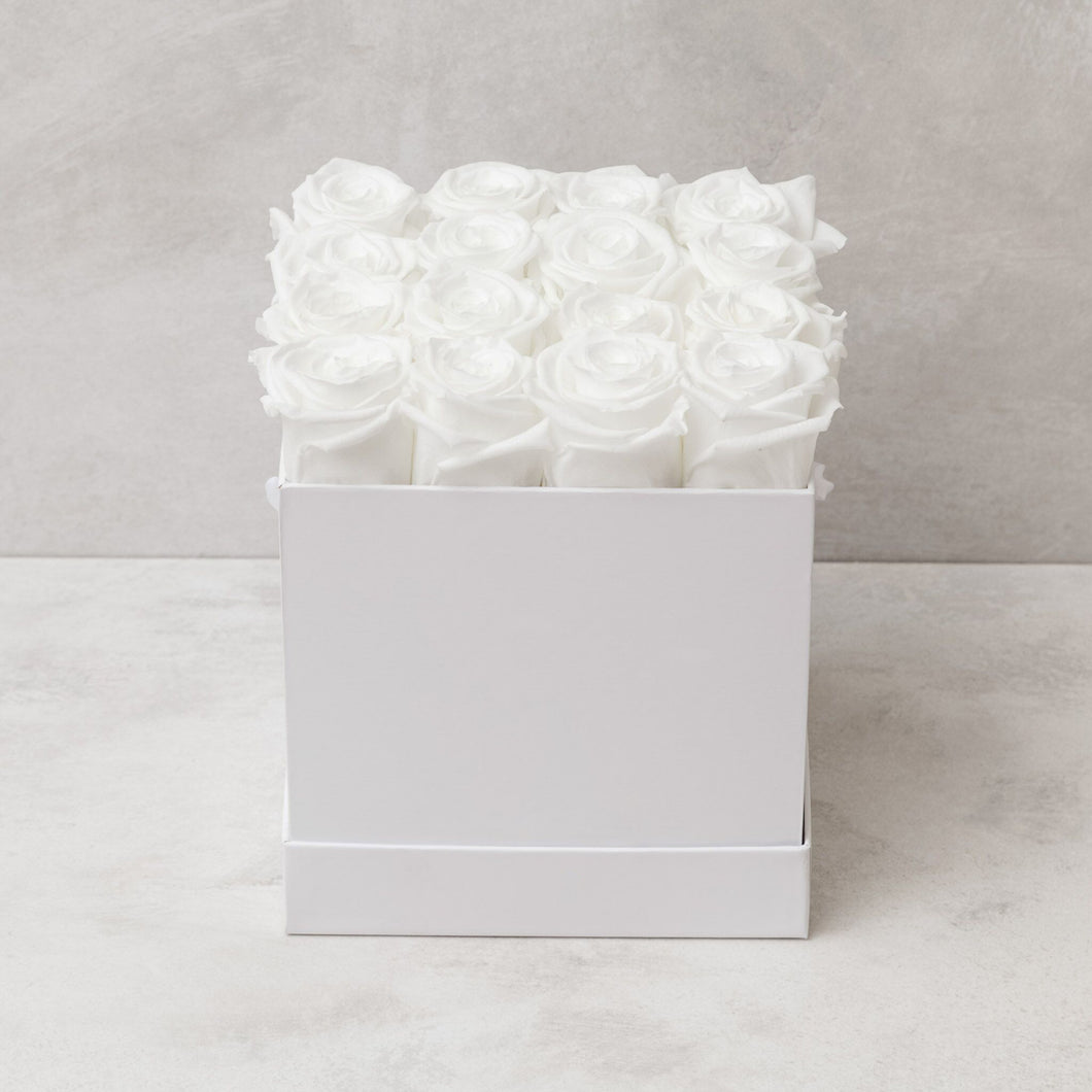 Sixteen White Roses in White Box