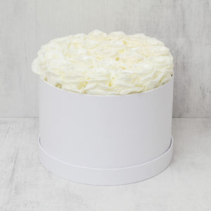 Medium Round Champagne Roses in White Box