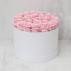 Medium Round Pink Roses in White Box