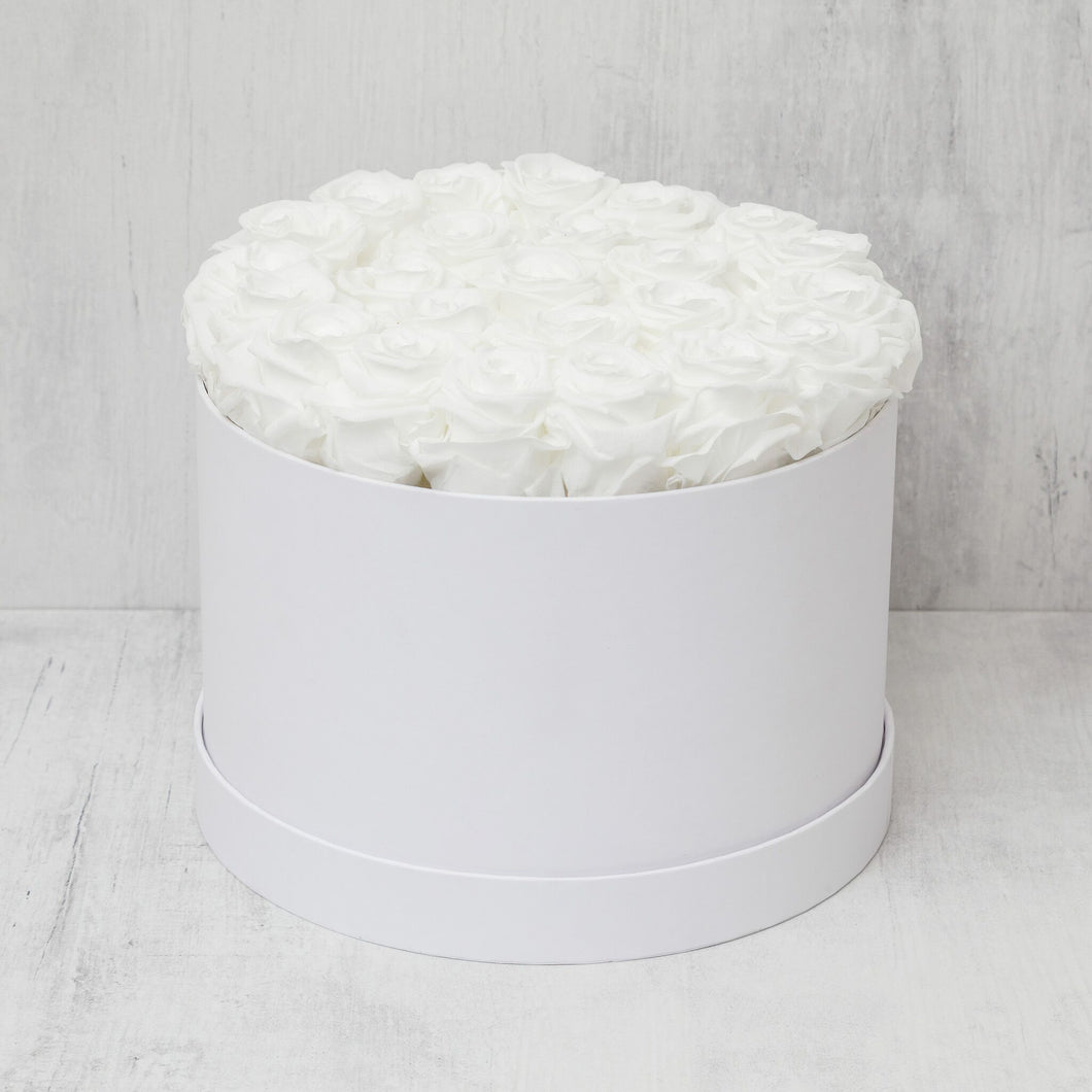 Medium Round White Roses in White Box