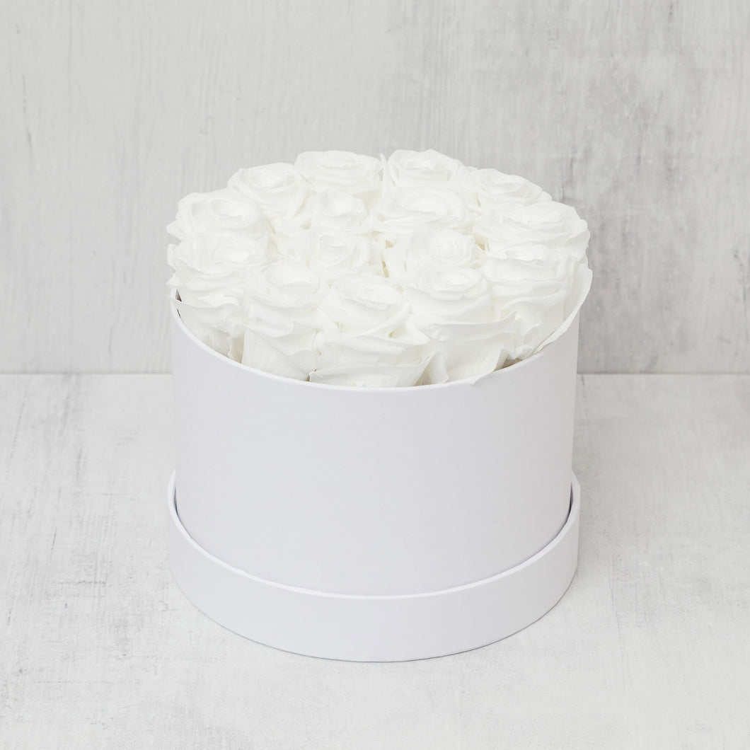 Small Round White Roses in White Box