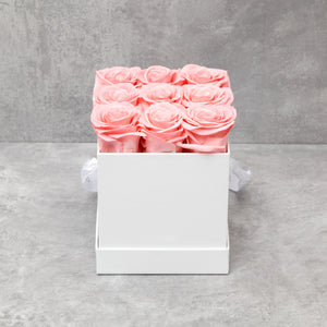 Nine Pink Roses in White Box