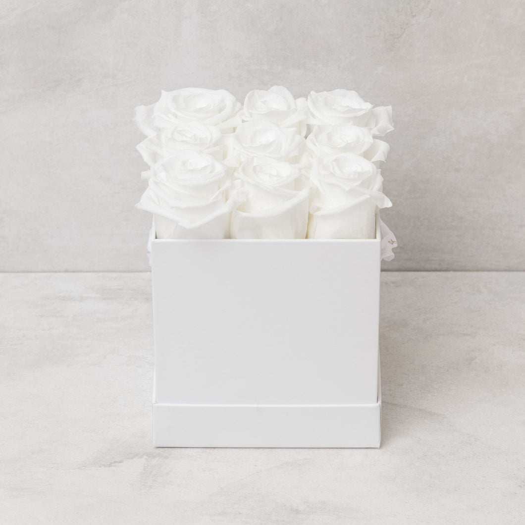Nine White Roses in White Box