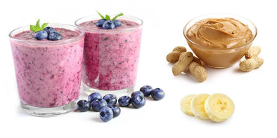 Protein Smoothie Idea - Peanut butter and blueberry smoothie with bananas and grass-fed whey protein isolate