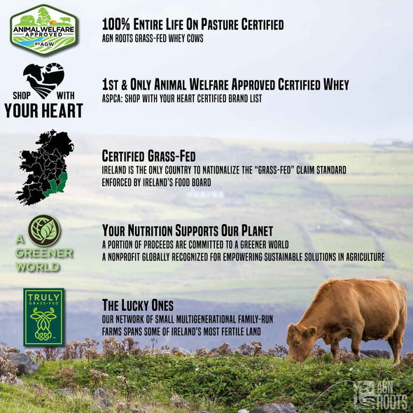 AGN Roots Grass-Fed Whey Verified Grass-Fed via Truly Grassfed & Ireland's National Food Board