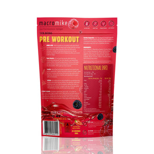 Macro Mike 100% Natural Pre Workout- Tropical Berry Blast / 30 Serves