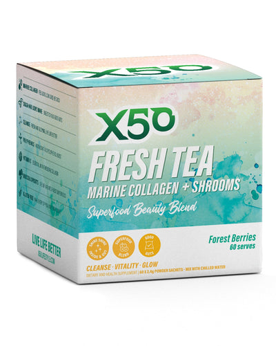 X50 Fresh Tea Marine Collagen + Shrooms- Forest Berries / 60 Serves