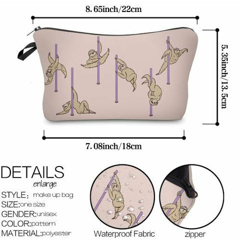 Image of Sloth Pole Dancing Makeup Bag - Sloth Gift shop