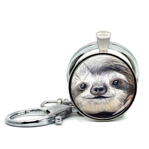 Fluffy Face of Sloth Keyring - Sloth Gift shop