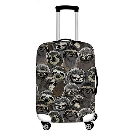 Black Sloth Heads Luggage Cover