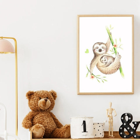 Mother Sloth Hug Poster - Sloth Gift shop