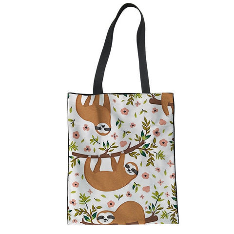 Floral Sloth Tote Bag