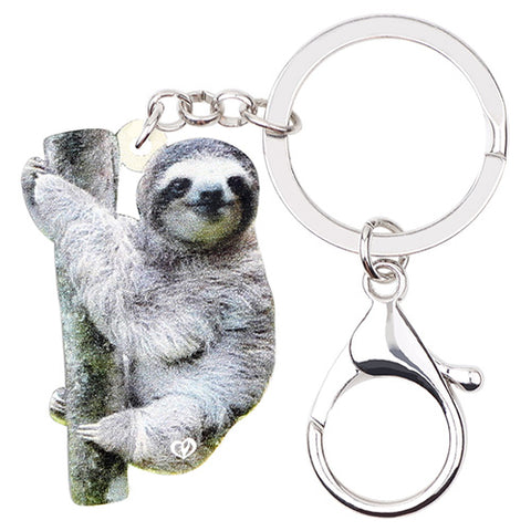 Furry Sloth Keyring - Sloth Gift shop