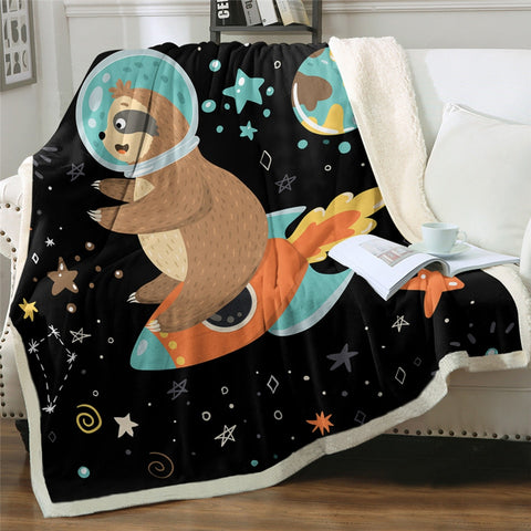 Space Sloth Ship Blanket - Sloth Gift shop