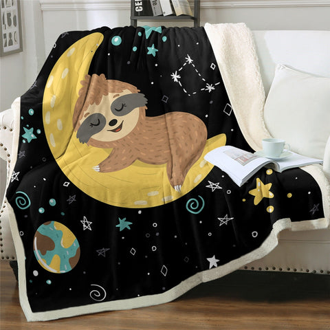 Moon Sloth Lover Blanket - Sloth Gift shop