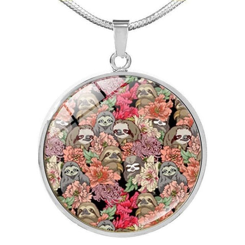 Image of Retro Leaves Sloth Necklace - Sloth Gift shop
