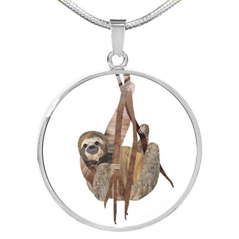 Wood Hanger Necklace - Sloth Gift shop