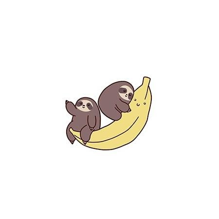 Banana Hugging Sloth Pin Badge