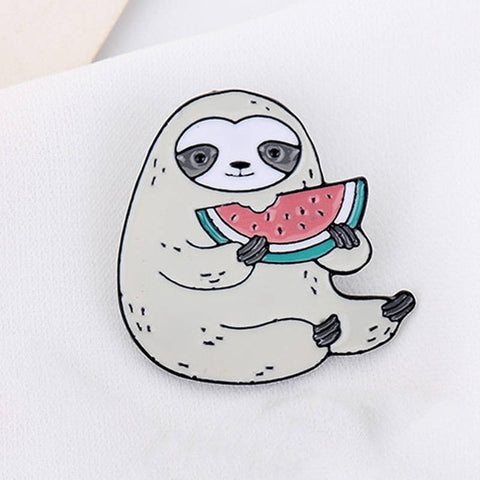 Watermelon Sloth Pin Badge - Sloth Gift shop