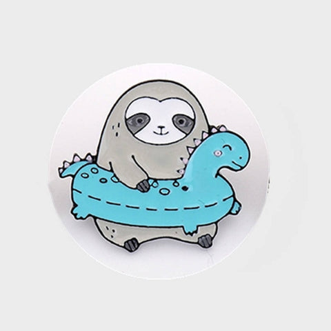 Summer Sloth Pin Badge - Sloth Gift shop
