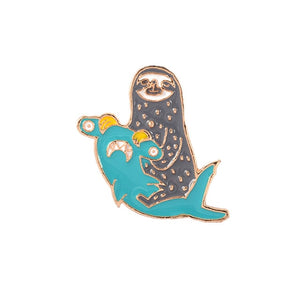 Sloth Riding Shark Pin Badge - Sloth Gift shop