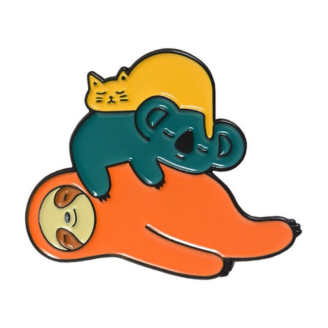Lazy Sloth and Friends Pin Badge