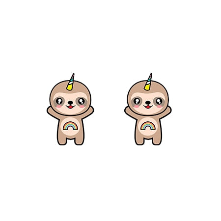 Happy UniSloth Earrings - Sloth Gift shop